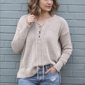 LOFT Tan Lace Up Knit Sweater